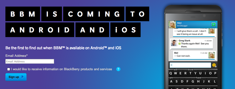 BBM for Android and iPhone very soon